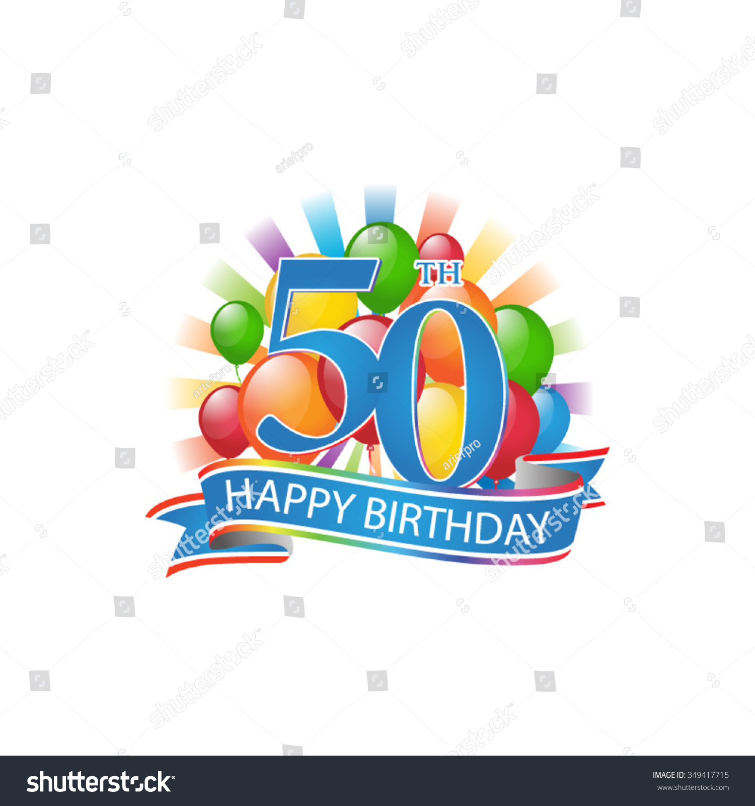 50th Colorful Happy Birthday Logo With Balloons And Burst