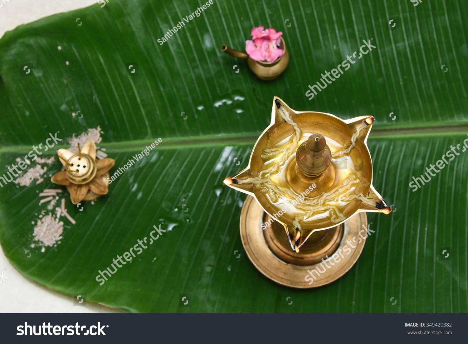traditional south indian brass oil lamp stock photo 349420382