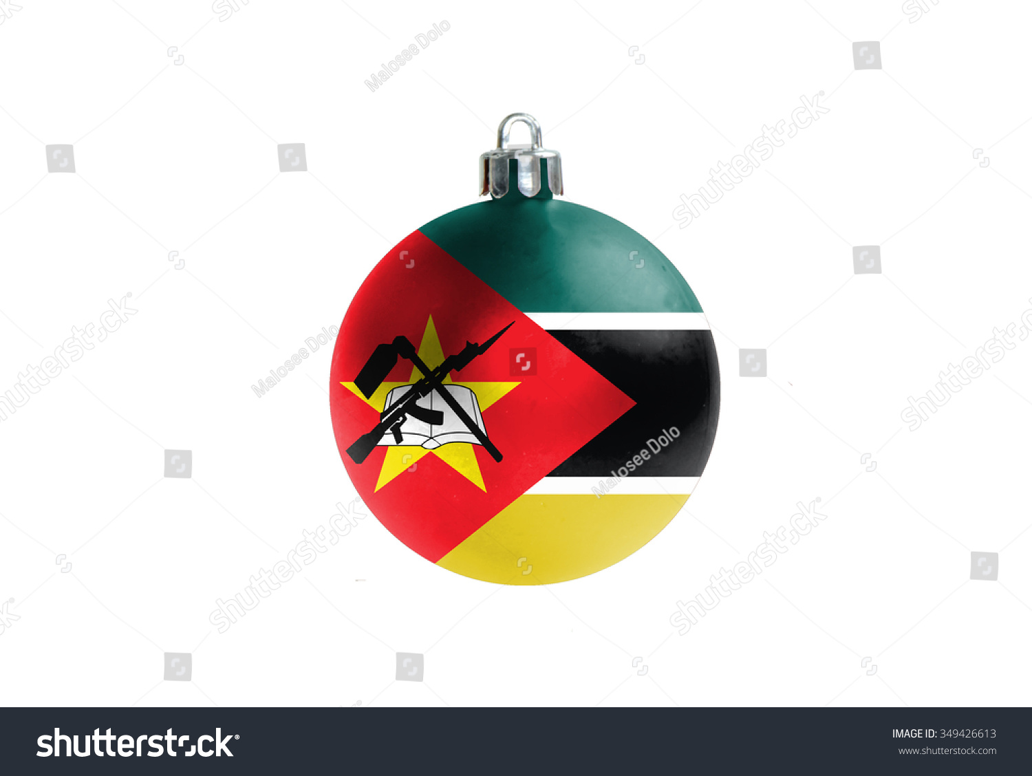 Glossy Christmas Ball National Colors Mozambiqueisolated Stock ...