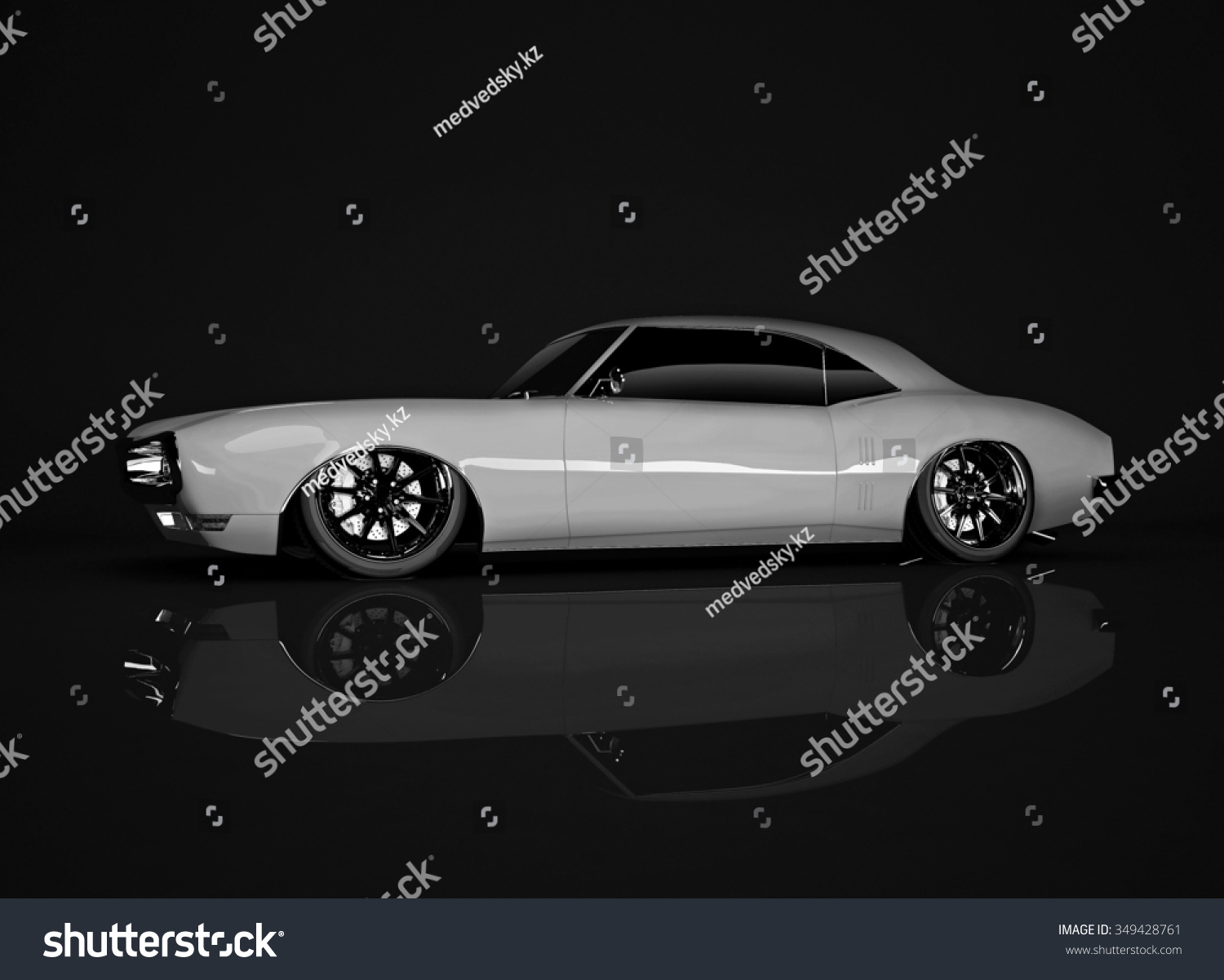 White Tuned Muscle Car On Black Stock Illustration 349428761 ...