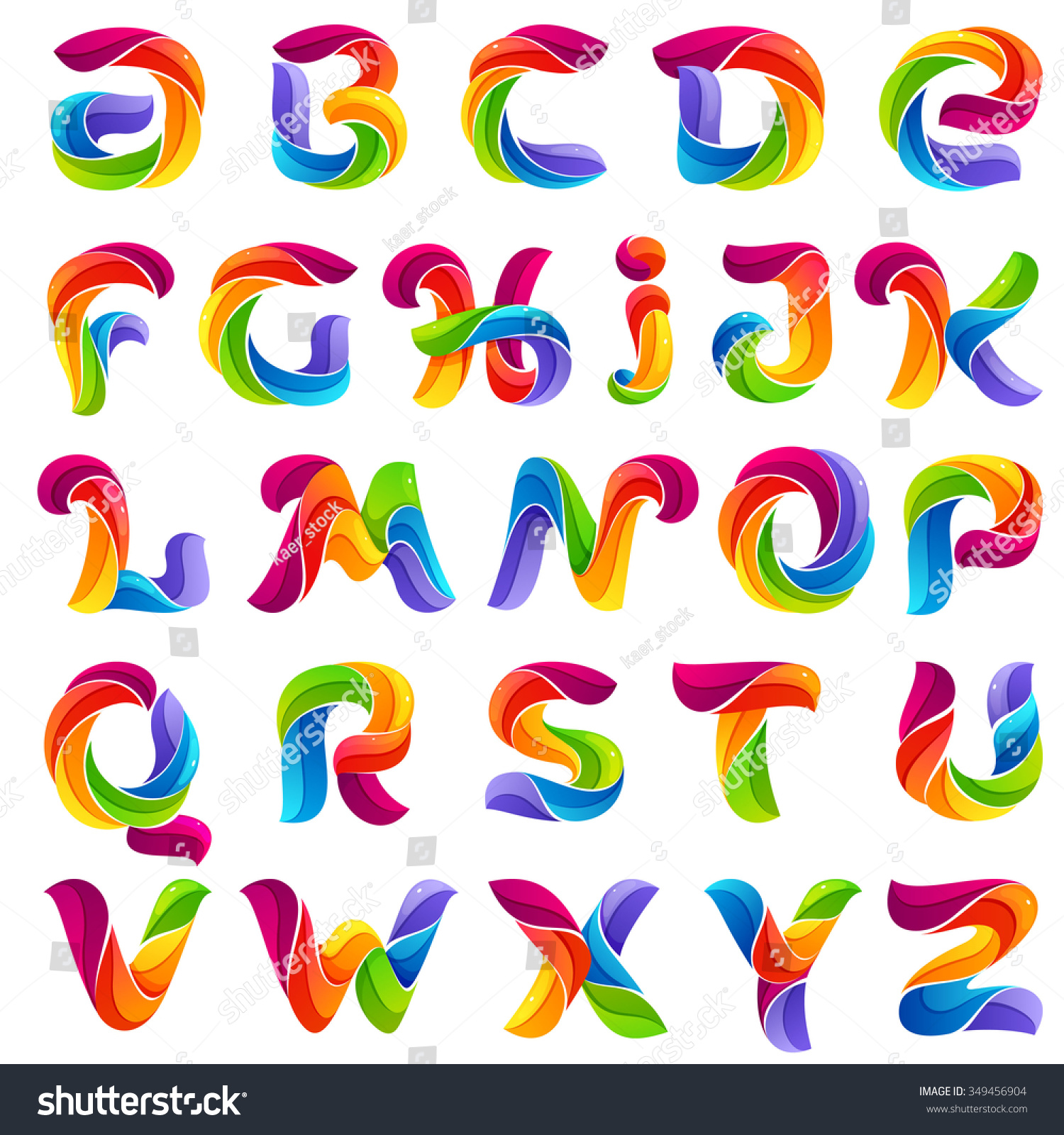 Funny Alphabet Letters Formed By Twisted Stock Vector Royalty Free