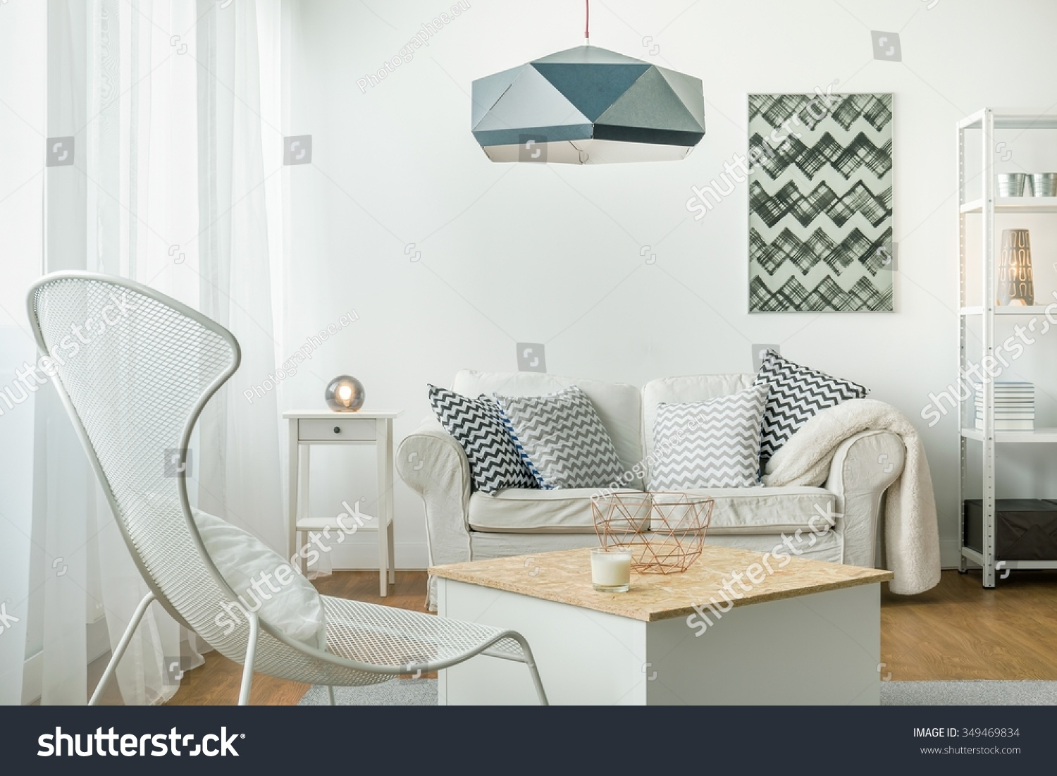 Idea Simple Bright Living Room Arrangement Stock Photo (100% Legal ...
