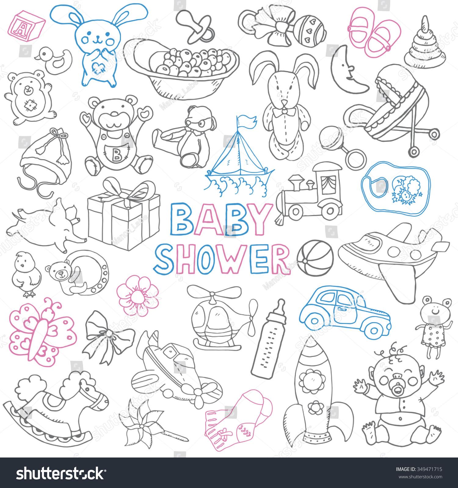 Doodle Vector Babyshower Set Hand Drawn Stock Vector