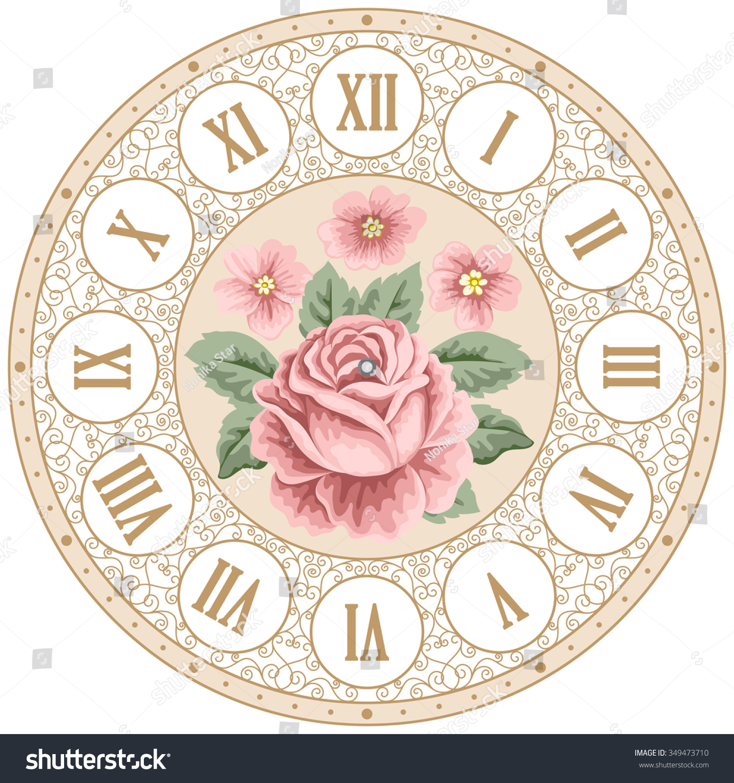 Vintage Clock Face With Hand Drawn Colorful Roses And