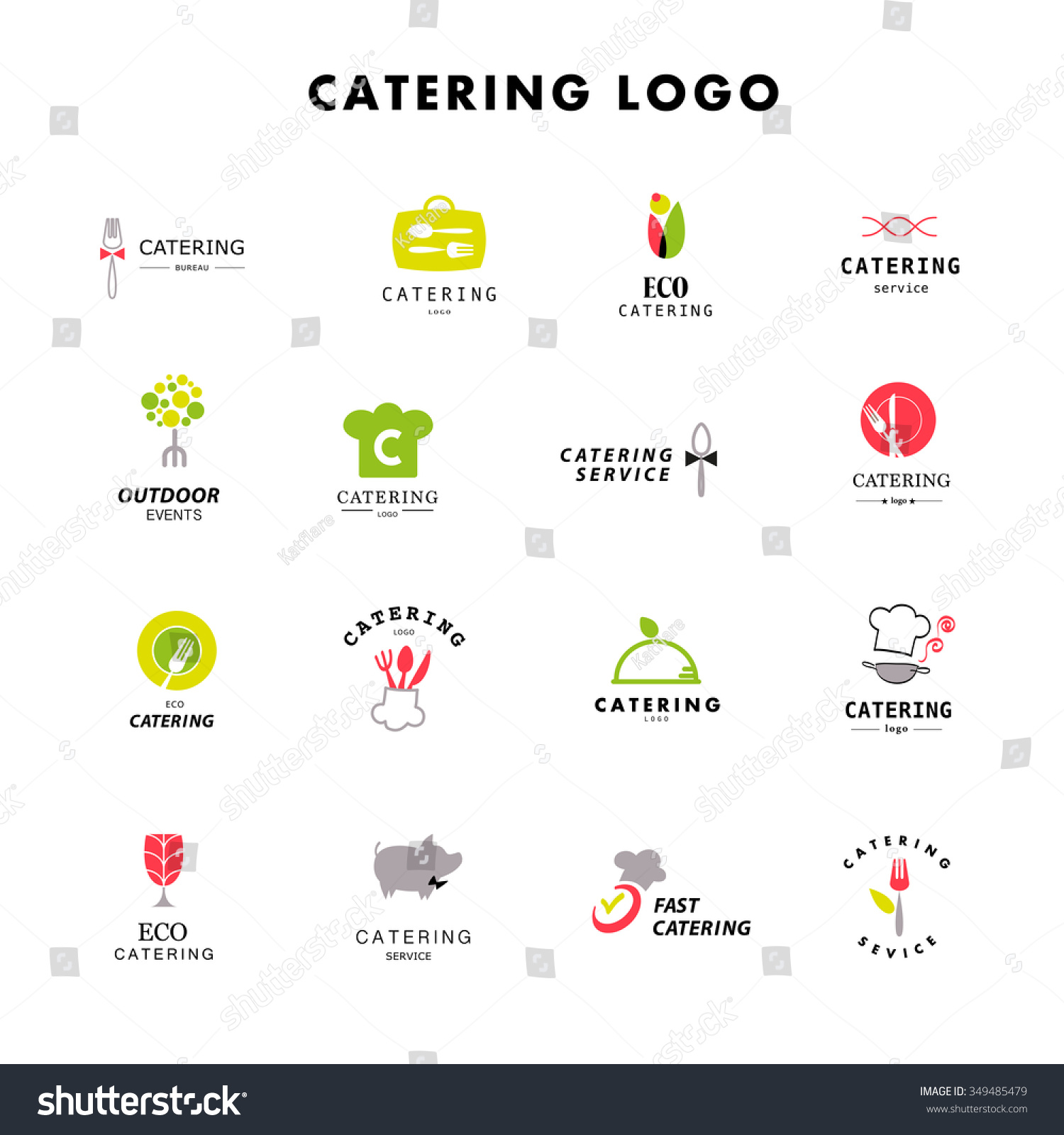 stock vector vector template of catering company logo logo chef design collection catering outdoor events and 349485479 20 Unique Cuisine Element Hiw6