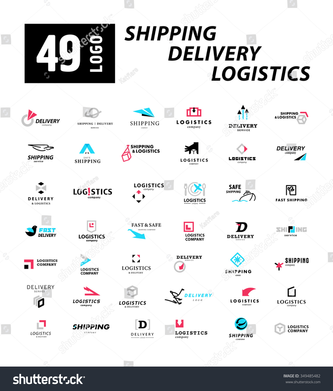 Vector Flat Logo Template Logistics Delivery Stock Vector 349485482 ...