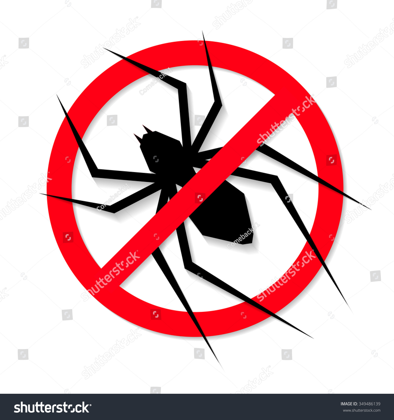 No Spider Sign Vector 349486139 Shutterstock
