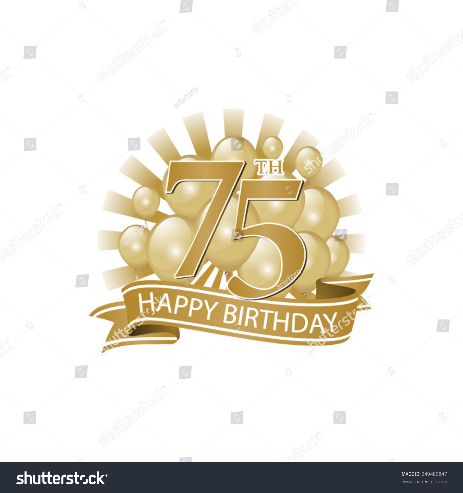 75th Golden Happy Birthday Logo With Balloons And Burst Of Light