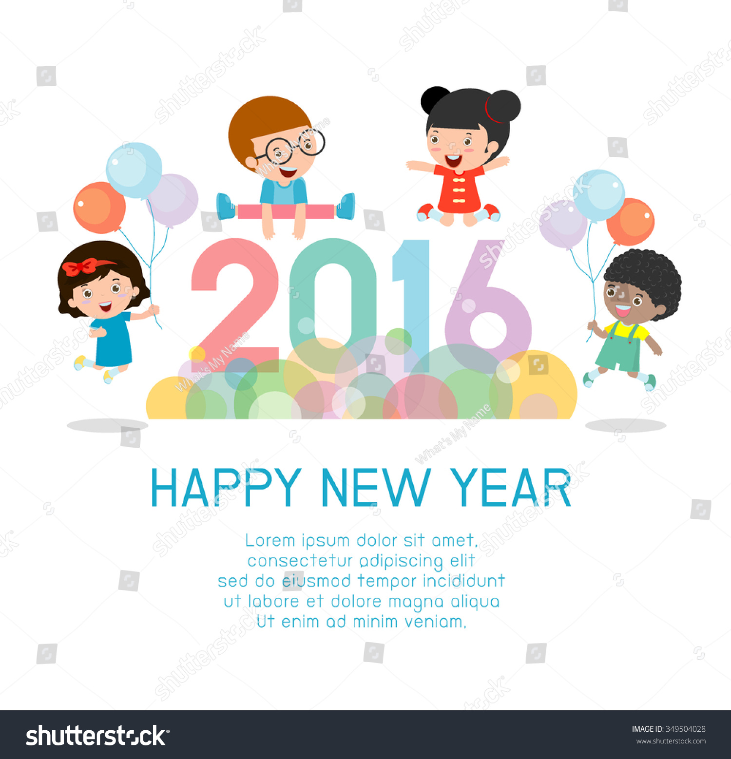 happy new year 2016 colorful happy new year 2016 kids background happy child jumping