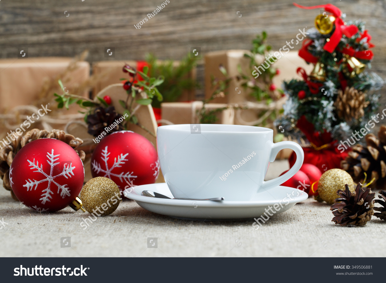 Christmas Table Green Tea Gifts Stock Photo (Edit Now) 349506881 ...