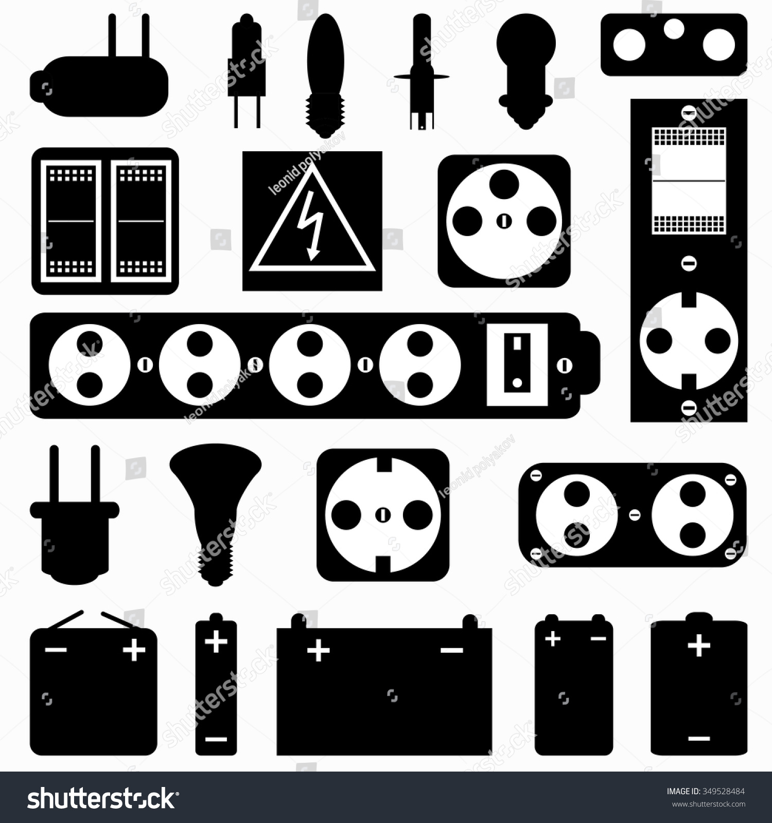 Electrical equipment monochrome collection symbols stock vector electrical equipment monochrome collection of symbols buycottarizona Choice Image