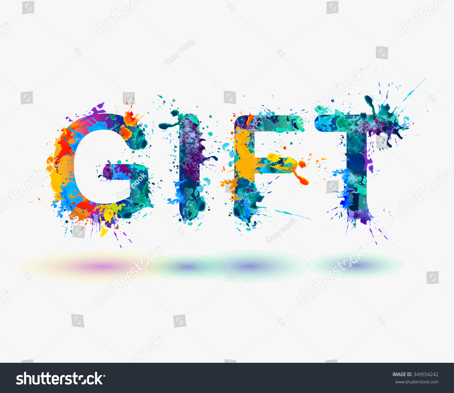 Word gift rainbow splash paint sign stock vector 349554242 word gift rainbow splash paint sign negle Images