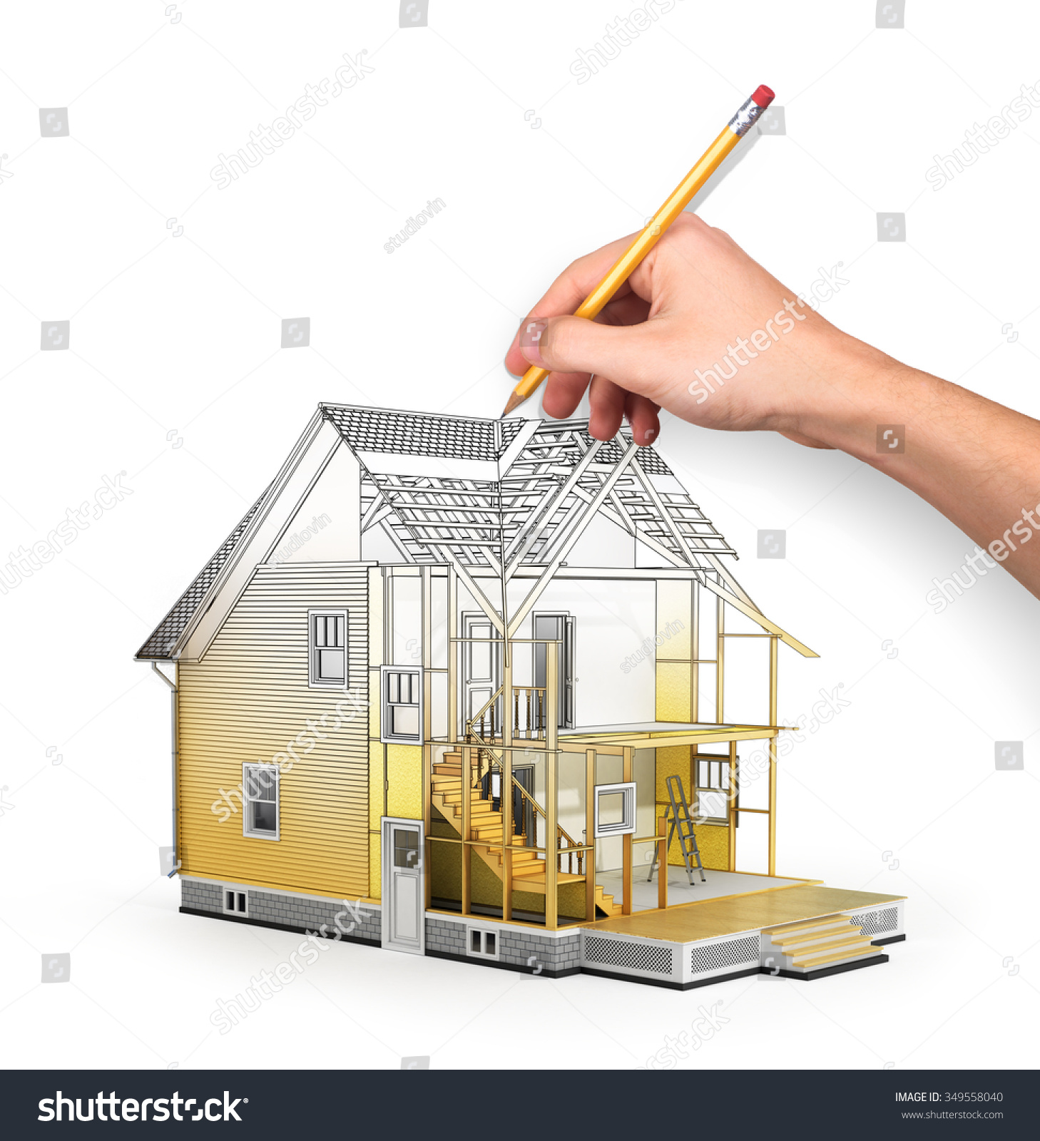Concept of construction and architect design 3d render of for Home building process