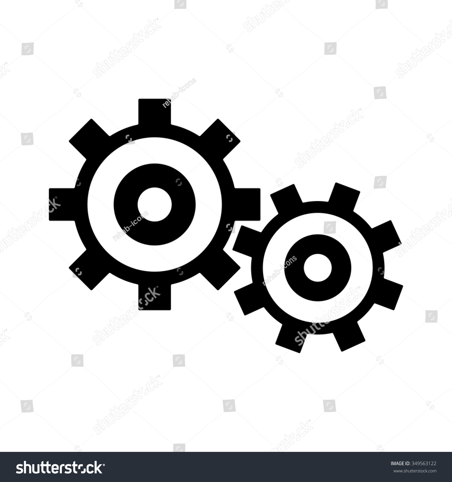 Gears Settings Sign Icon Mechanism Symbol Stock Vector