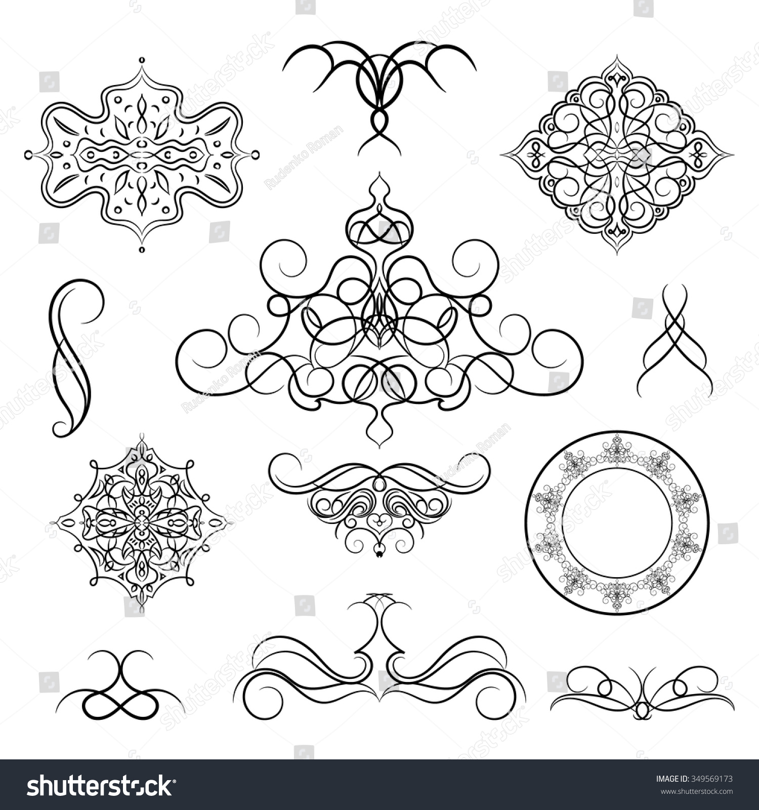 Set vintage borders frame rosette decoration stock vector