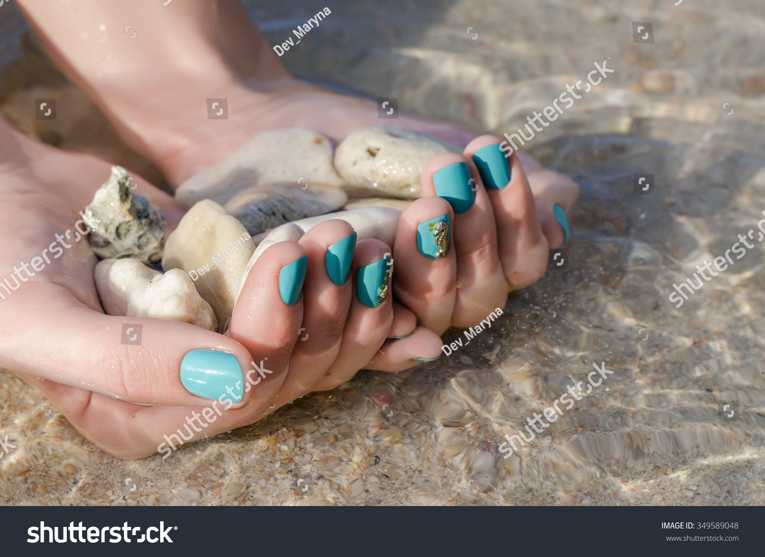 Female Hand Turquoise Nail Design Sea Stock Photo (Royalty Free ...