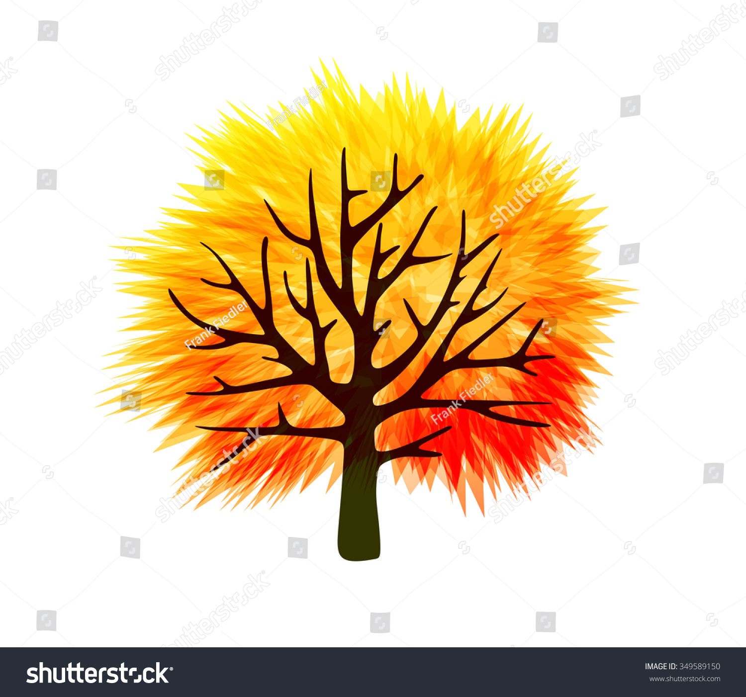 fall tree template abstract colorful leaves stock illustration