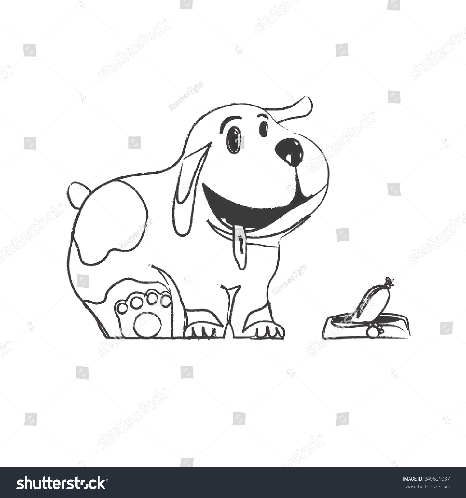 Pencil sketch of a seated puppy with a happy face next to the bowl with sausage