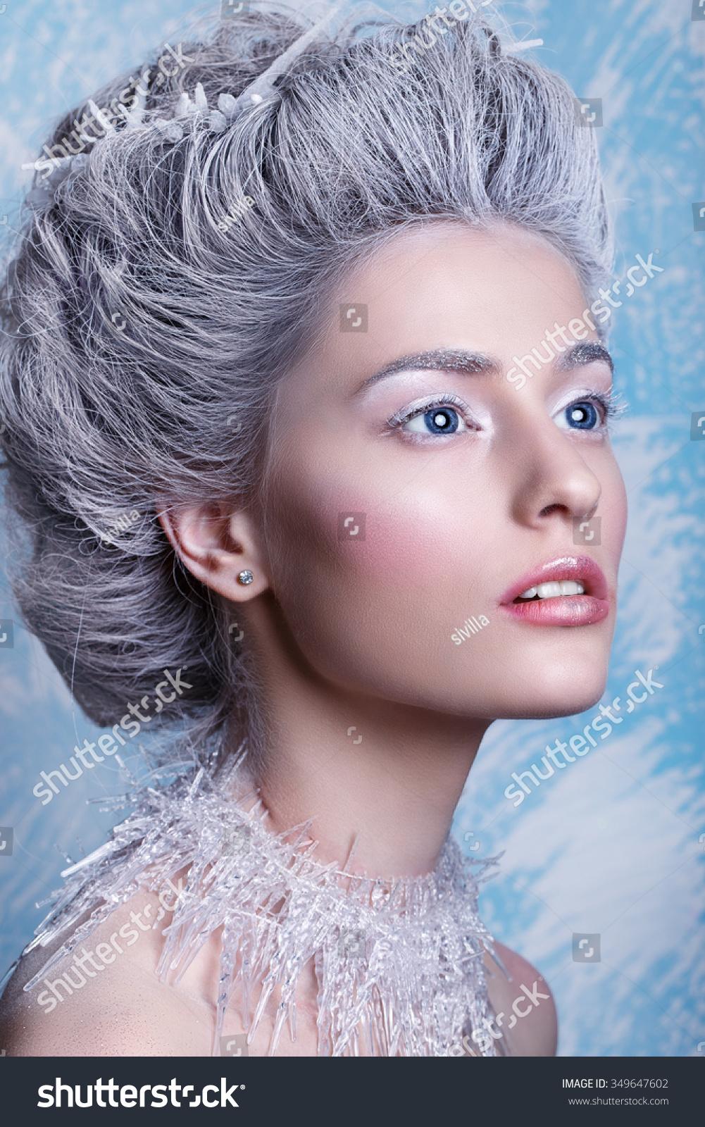 Winter Beauty Woman Christmas Girl Makeup Winter Stock Photo Edit