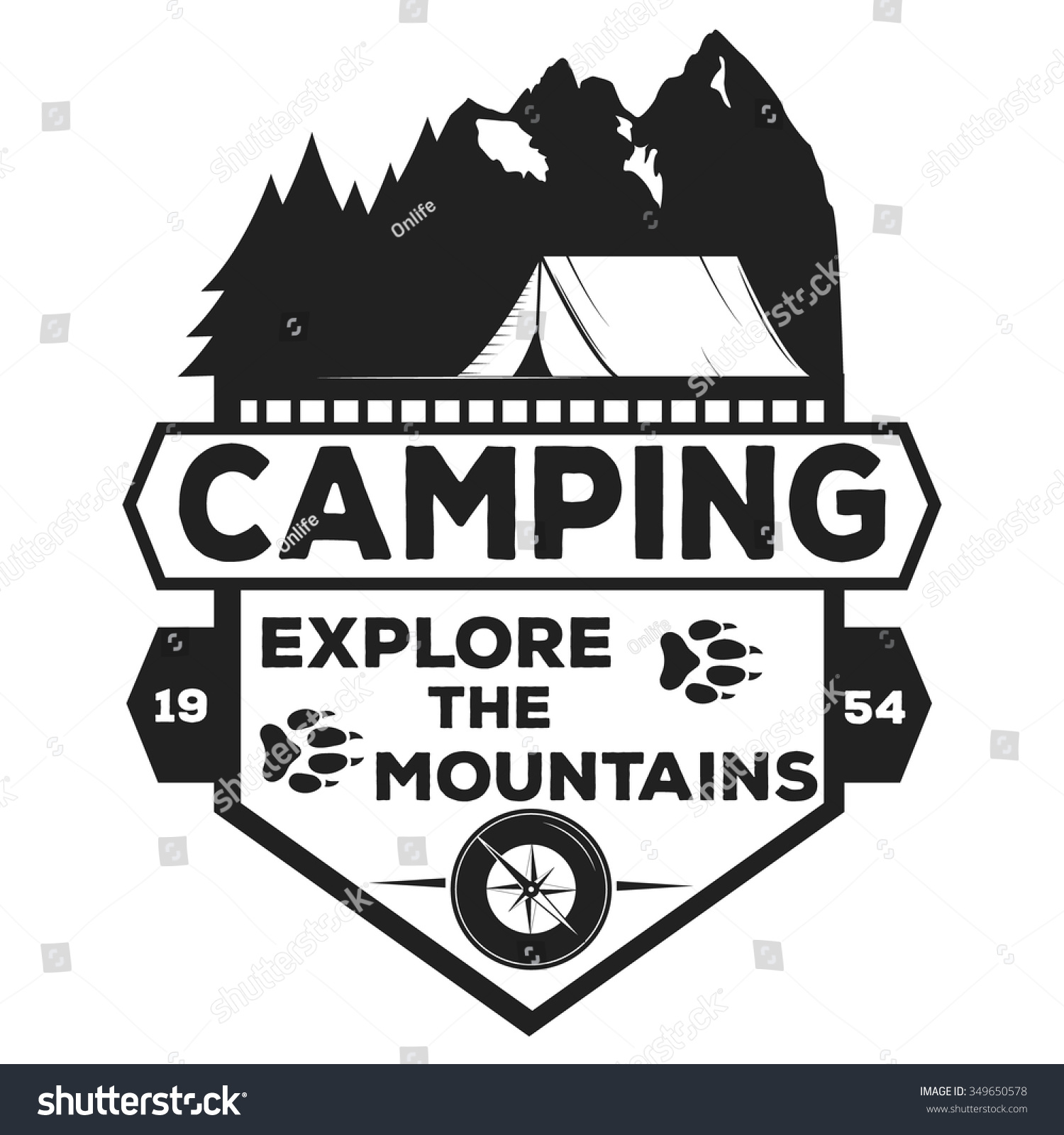 Vector Camping Logo Camping Label Illustration Stock