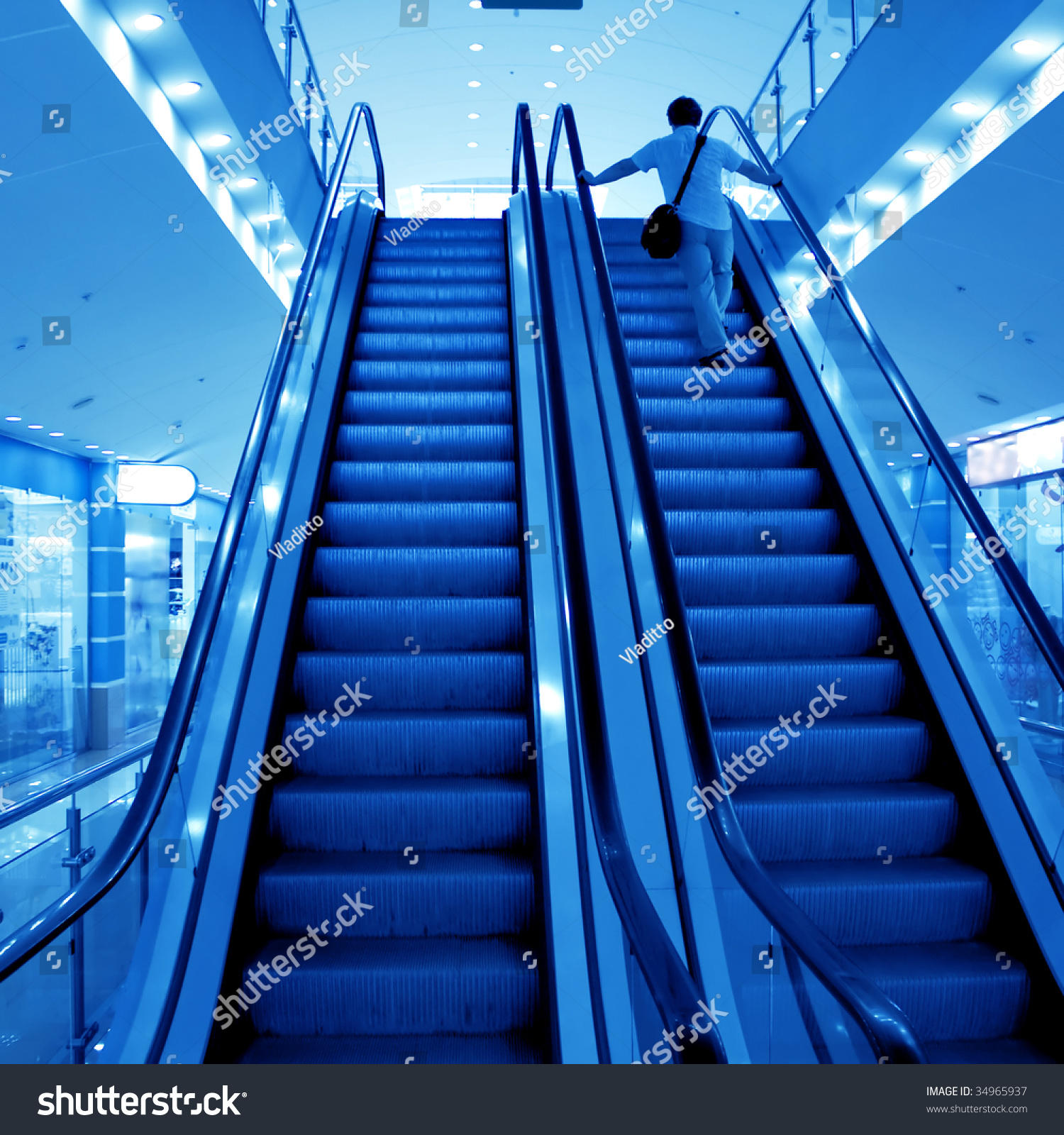 Moving Escalator Stairs Airport Stock Photo 34965937
