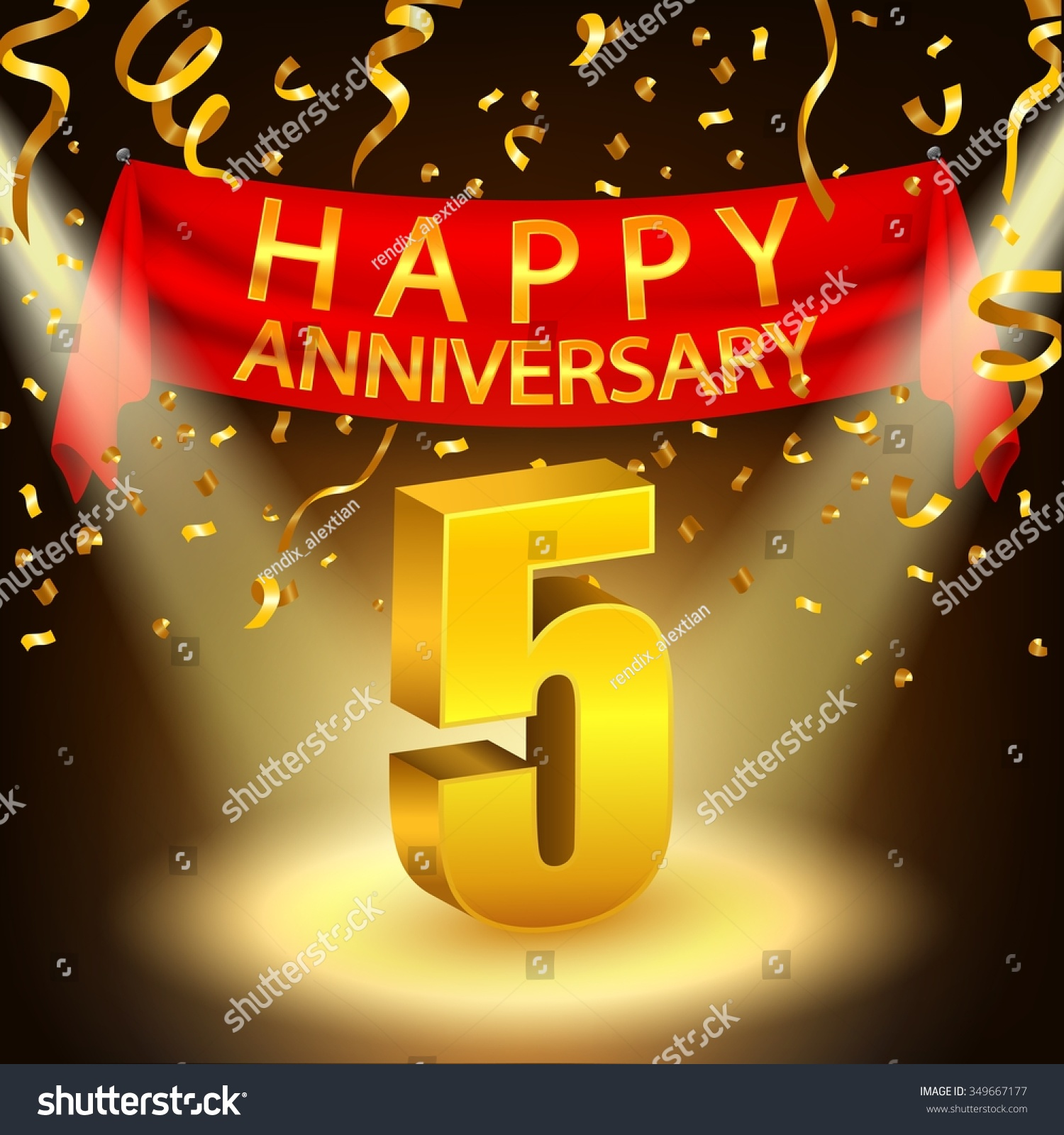Happy 5th anniversary celebration golden confetti stock vector happy 5th anniversary celebration with golden confetti and spotlight kristyandbryce Choice Image