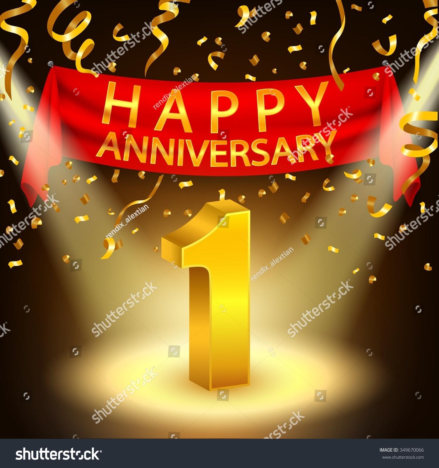 Happy st anniversary celebration golden confetti stock