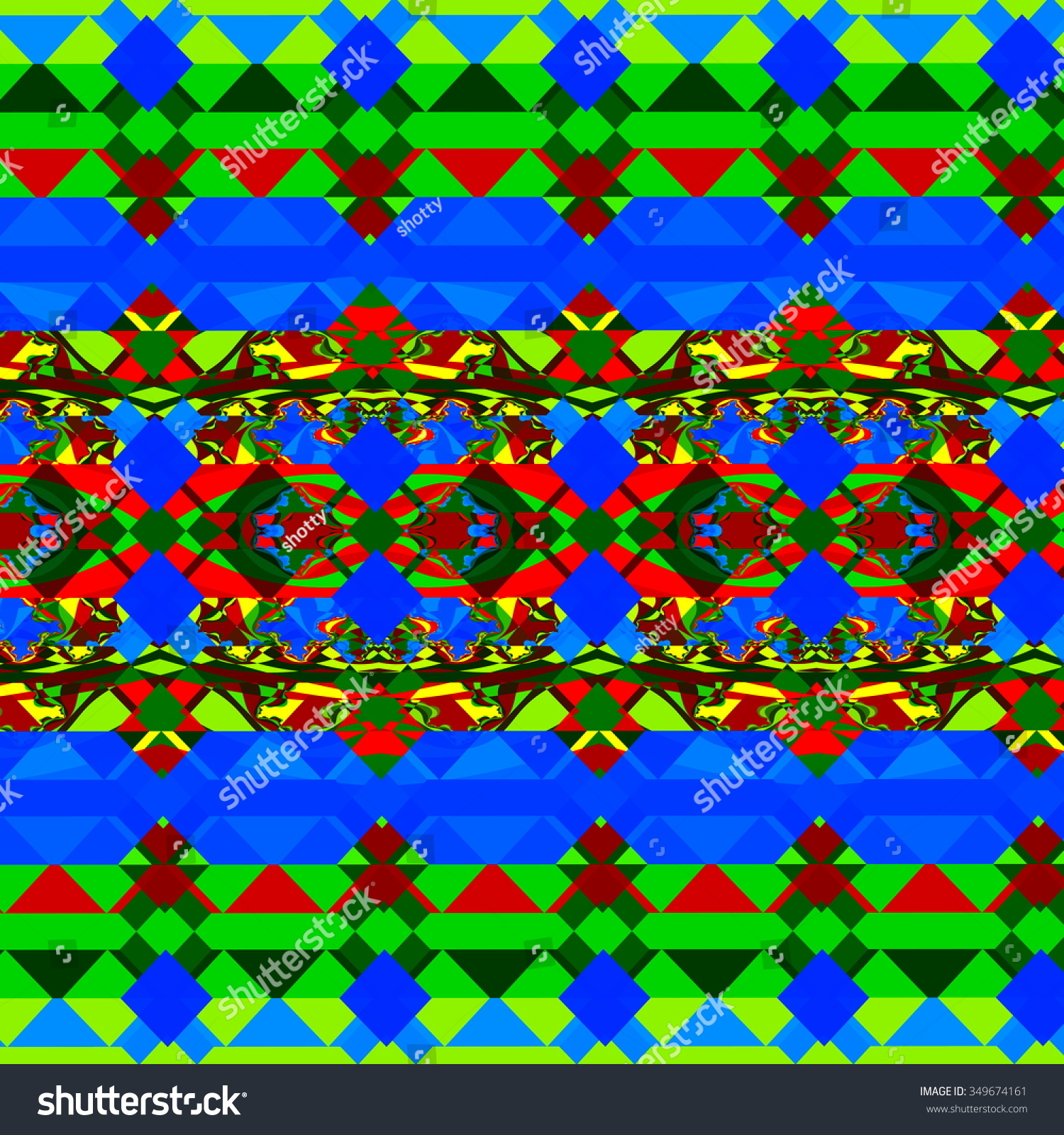Psychedelic Green Blue Shapes Odd Style Stock Illustration 349674161 ...