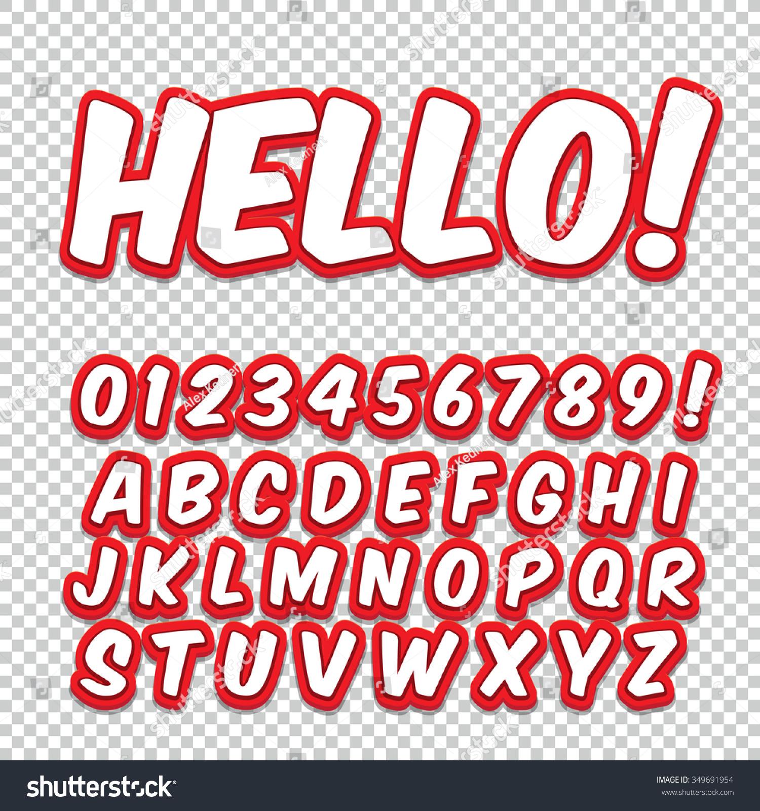 Comic Retro Alphabet Set Red Color Stock Vector (Royalty Free ...