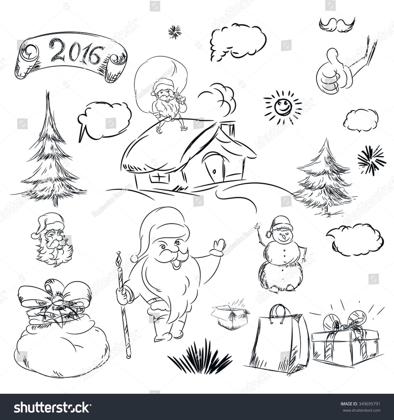 pencil sketch christmas christmas tree house stock vector