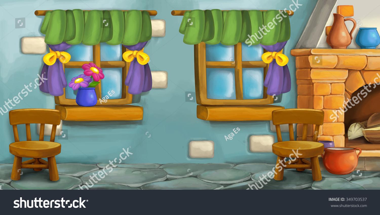 Cartoon Background Fairy Tale Kitchen Illustration Stock ...