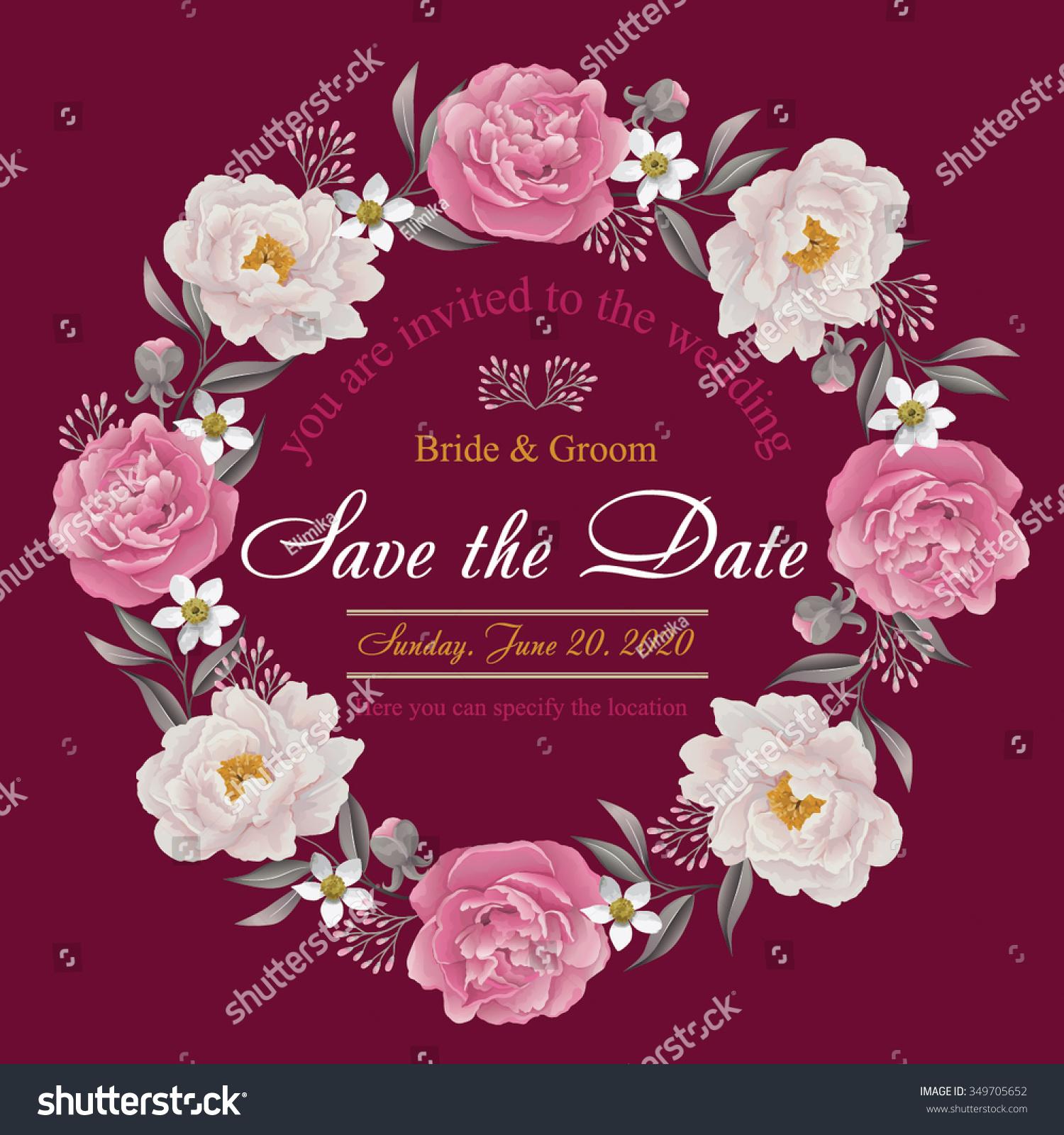Flower Wedding Invitation Card Save Date Stock Vector (2018 ...