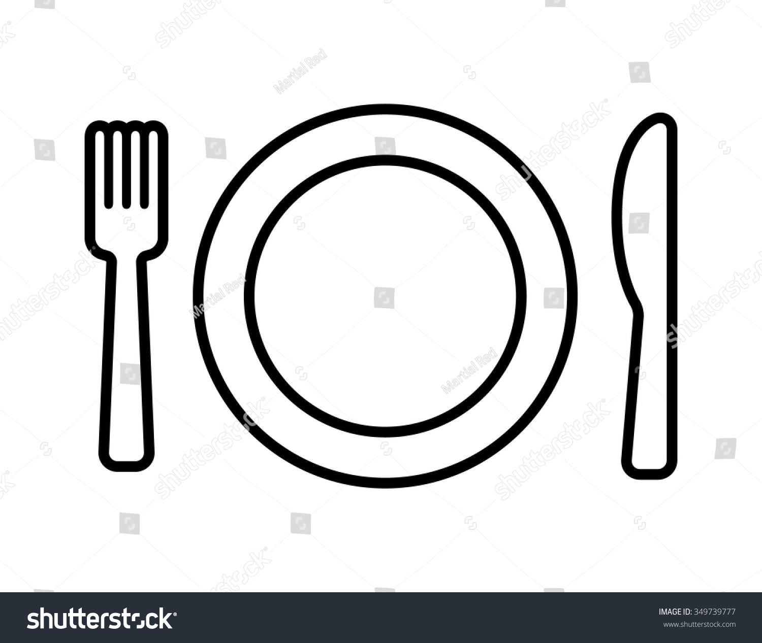Line Drawing Knife And Fork : Dining line art icon plate fork stock vector