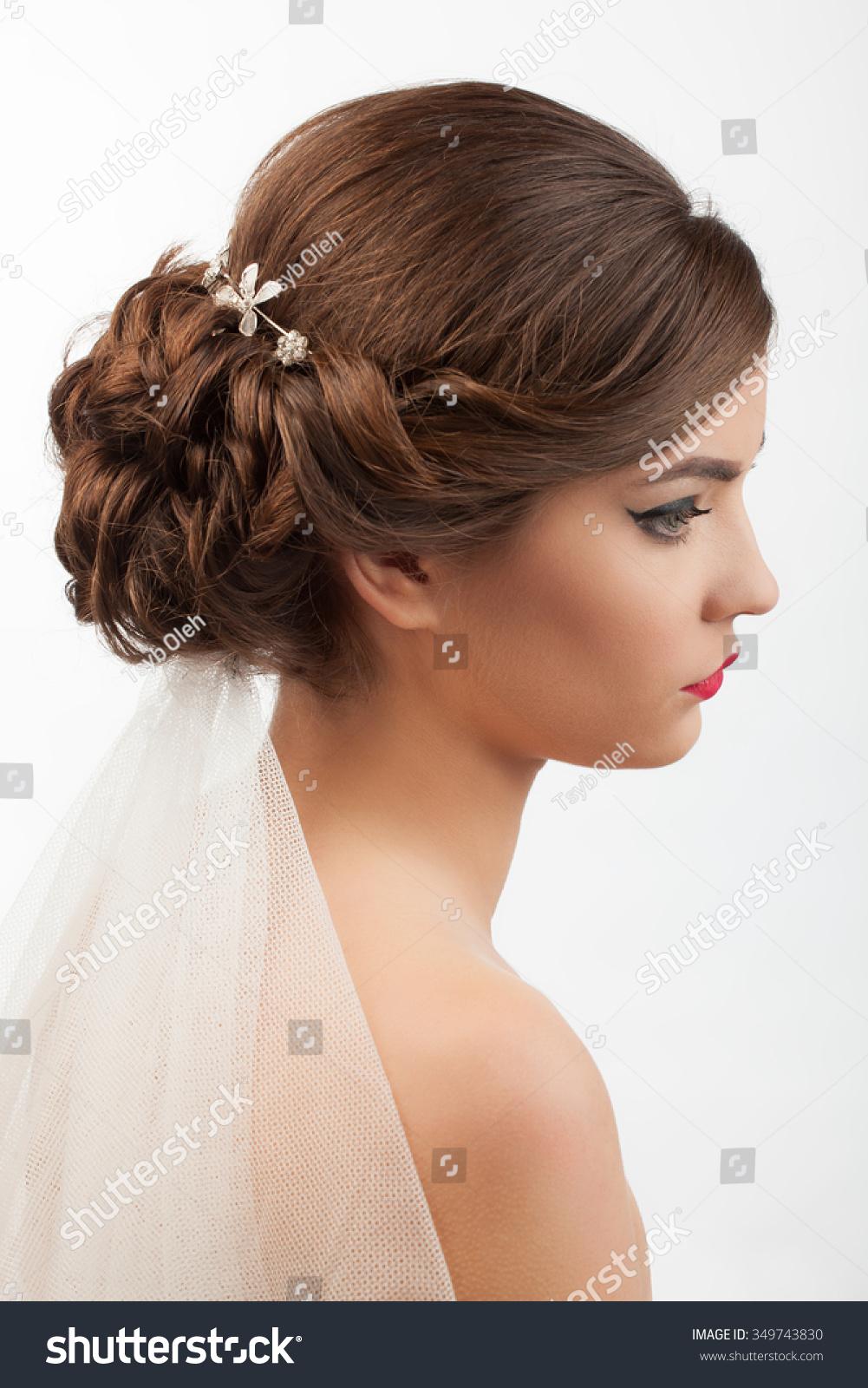 Bride Wedding Hairstyle Veil On White Stock Photo 349743830 ...