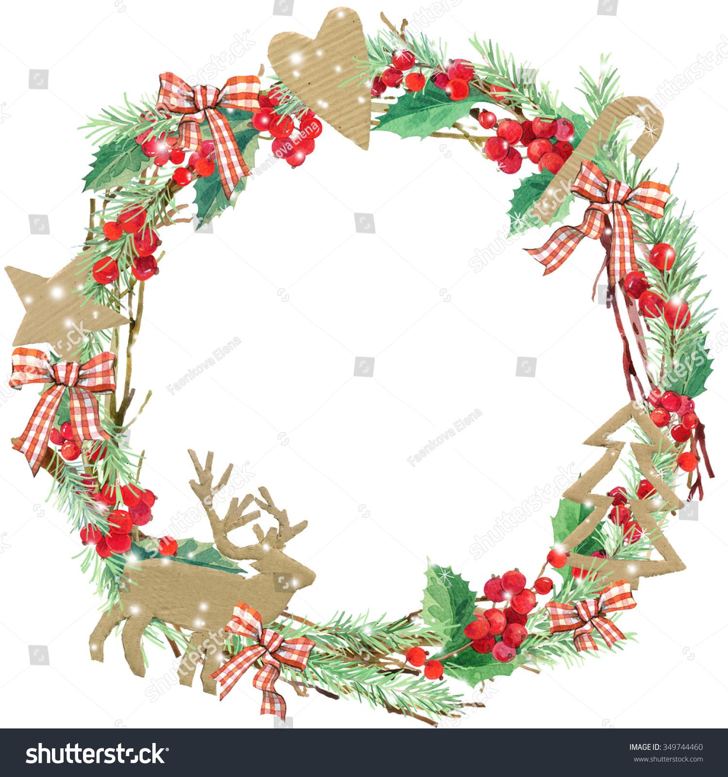 Watercolor Christmas Wreath Frame Watercolor Winter Stock ...