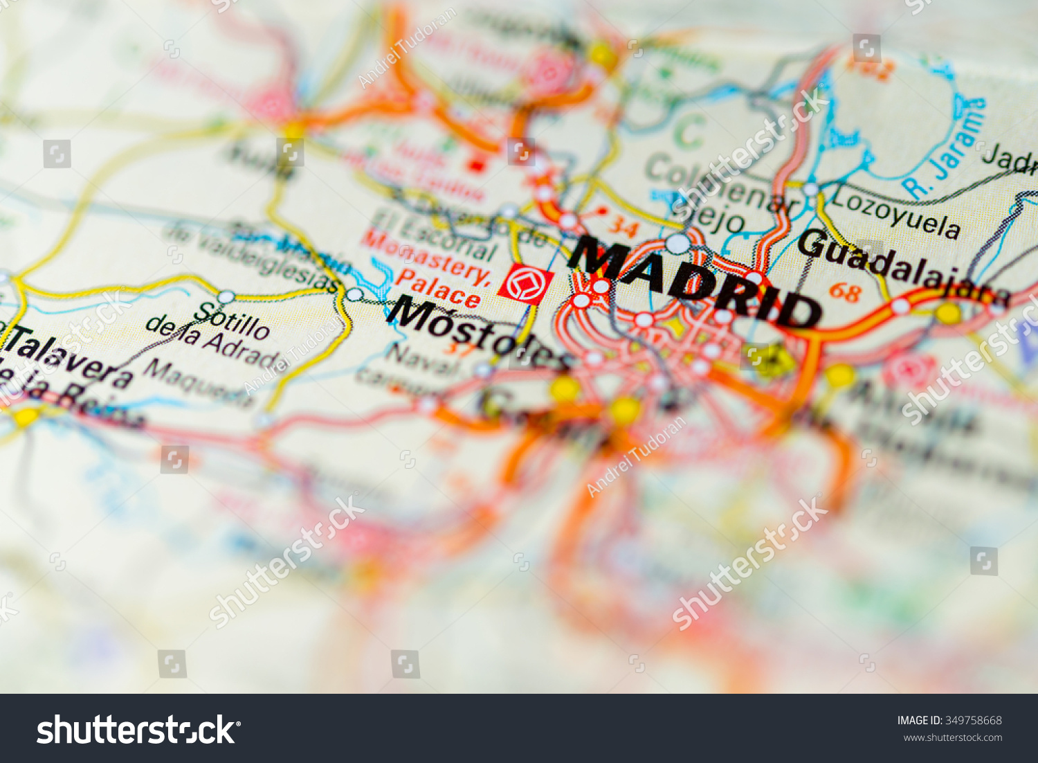 Macro View Madrid Spain On Map Stock Photo (Royalty Free) 349758668 ...