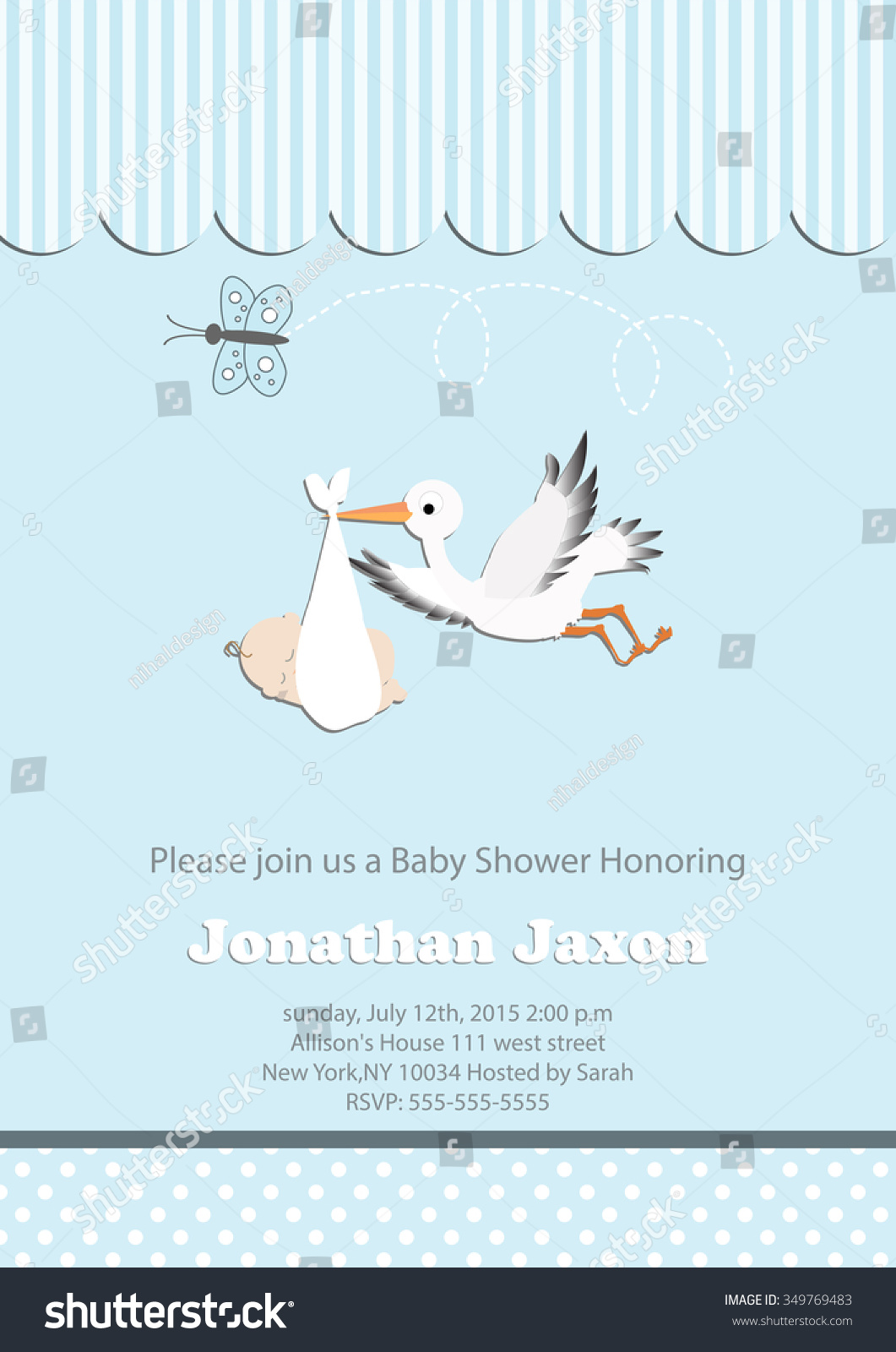 Baby Boy Baby Shower Invitation Butterfly Vector 349769483 – Stork Party Invites