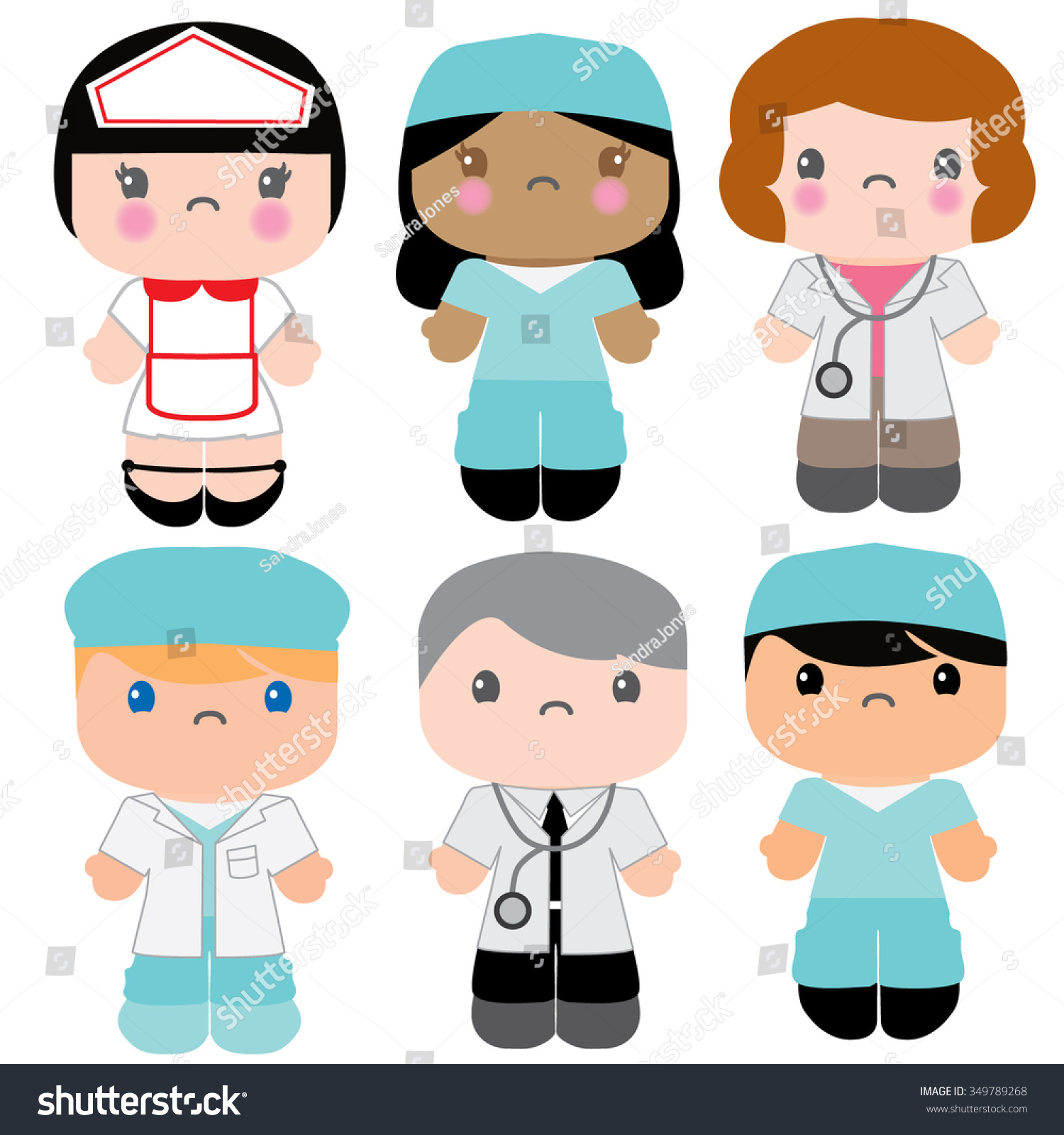 Kawaii Medical Nurse Doctor Characters Health Stock Vector ...