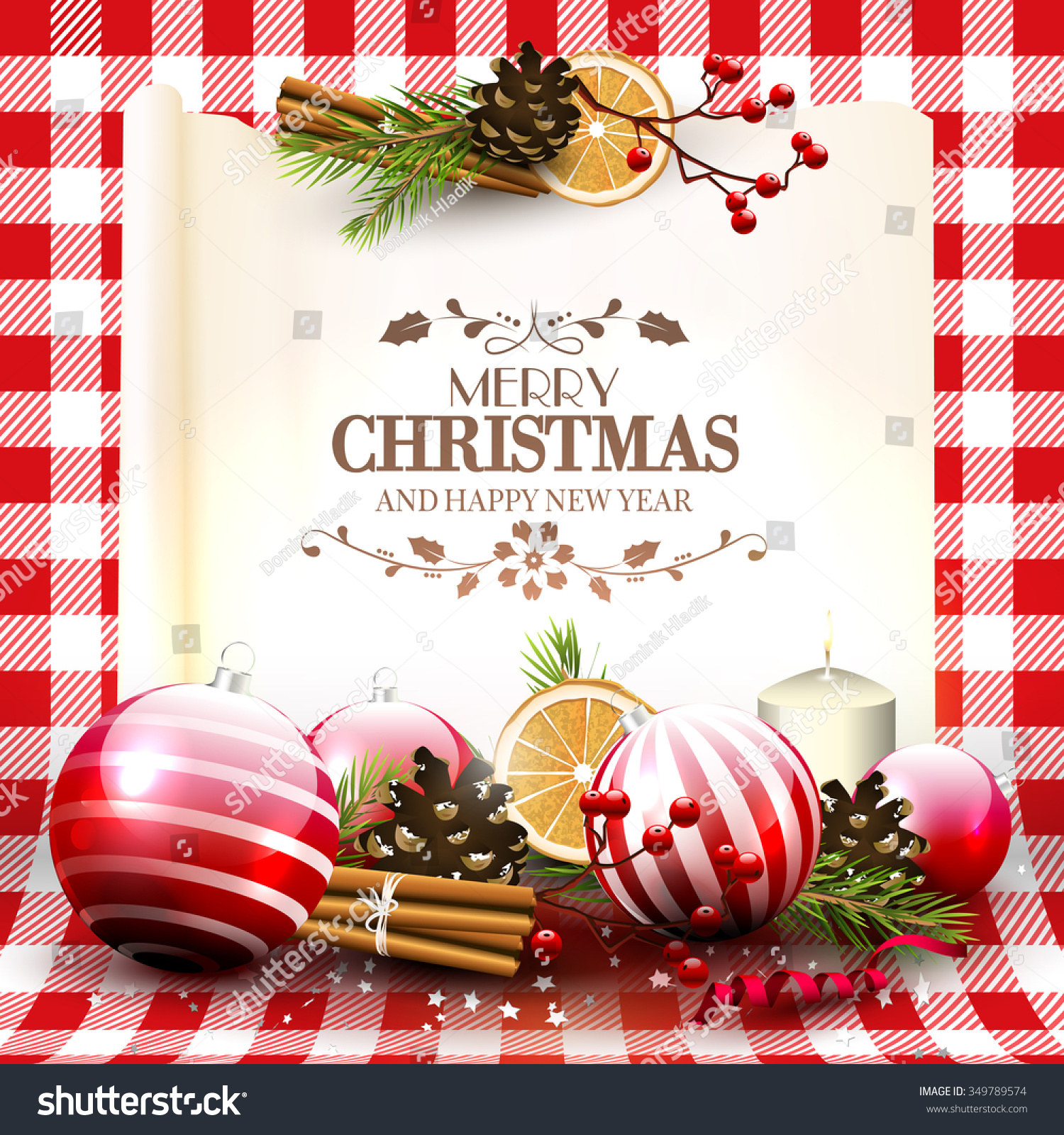 Traditional Christmas Greeting Card Decorations Old Stock Vector ...
