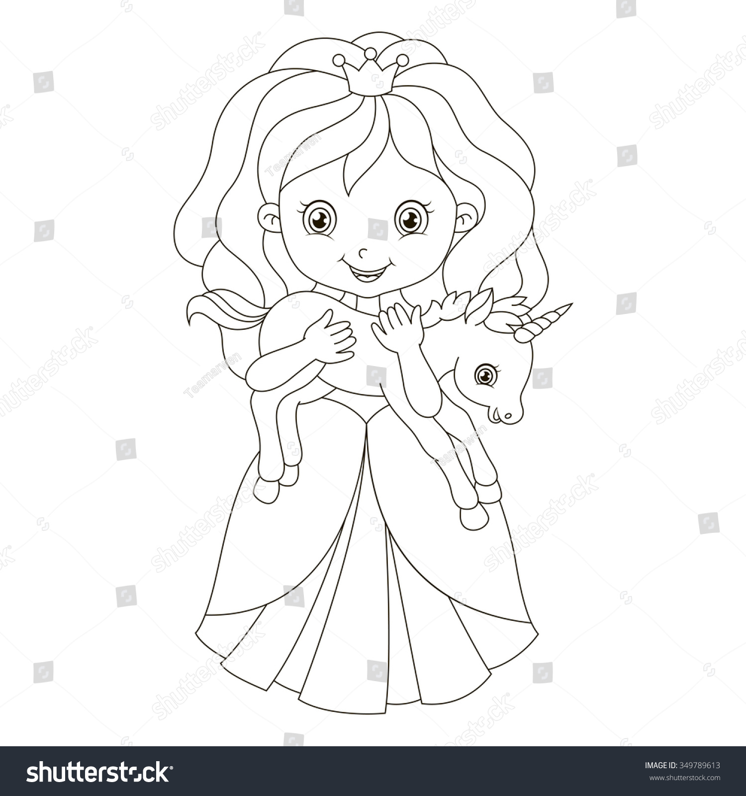 illustration beautiful princess baby unicorn coloring เวกเตอร สต