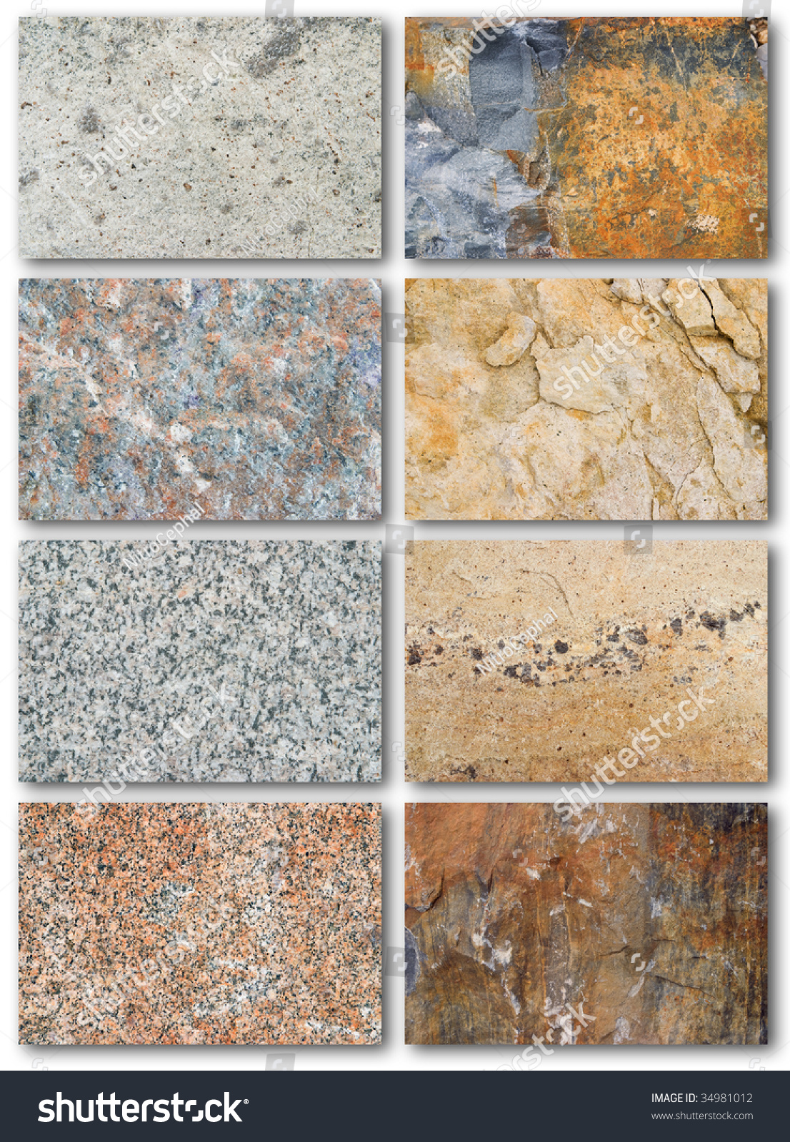 Rock Texture Surface List Different Types Stock Photo