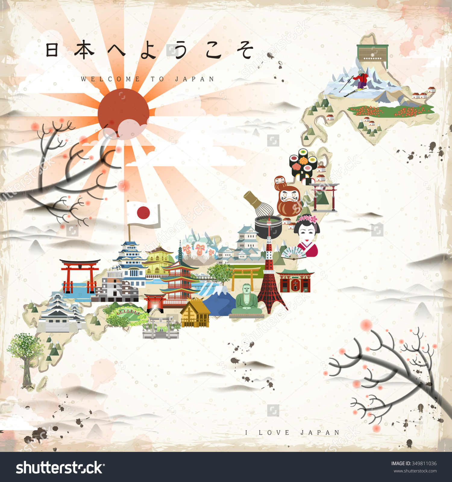 Beautiful Japan Travel Map Welcome Japan Vector 349811036 – Tourist Map Of Japan English