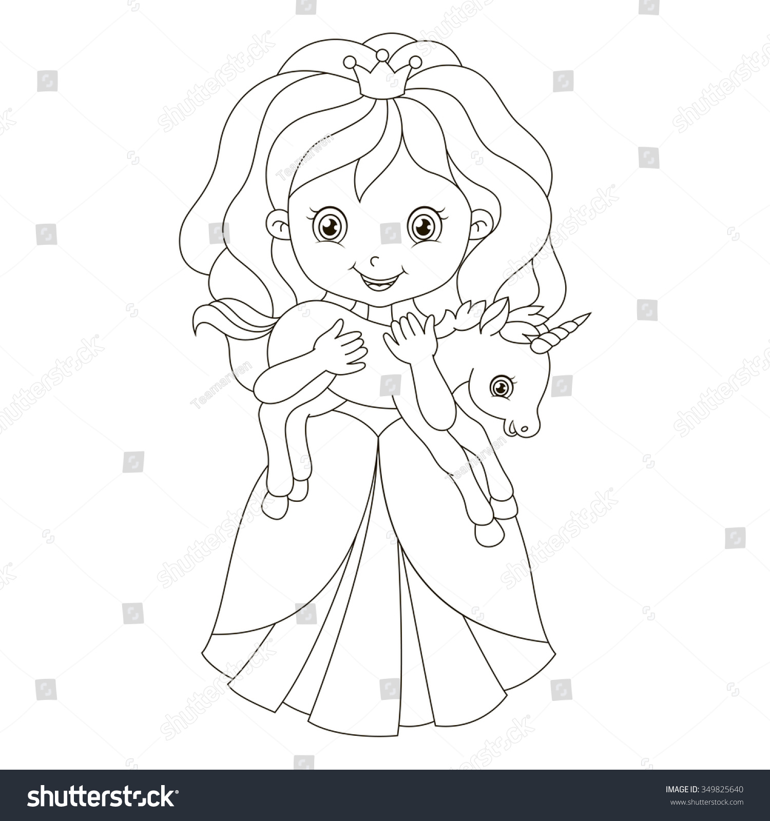 Charlie the unicorn coloring pages - Illustration Beautiful Princess Baby Unicorn Coloring Stock