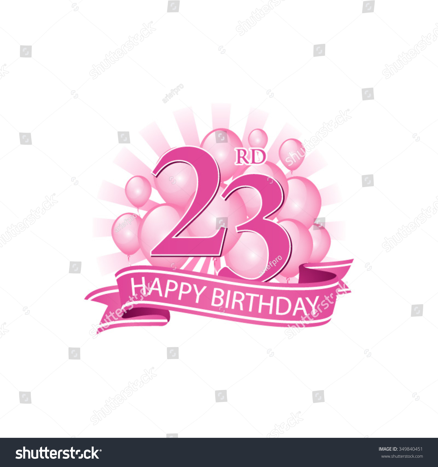 23rd Pink Happy Birthday Logo With Balloons And Burst Of Light