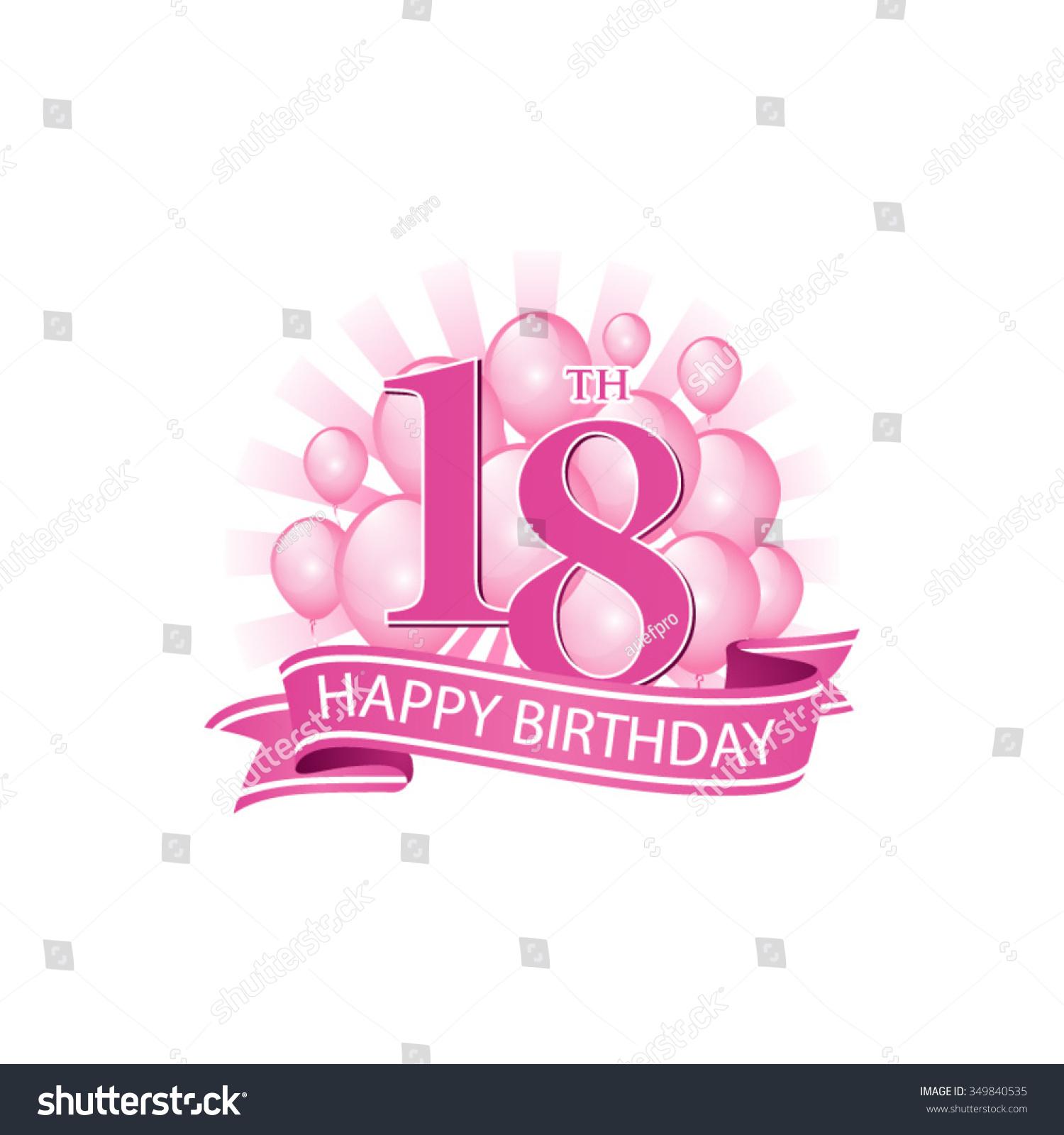 Pink Happy 18th Birthday Balloon: 18th Pink Happy Birthday Logo Balloons Stock Vector