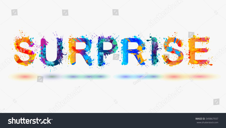 word surprise rainbow splash paint sign stock vector