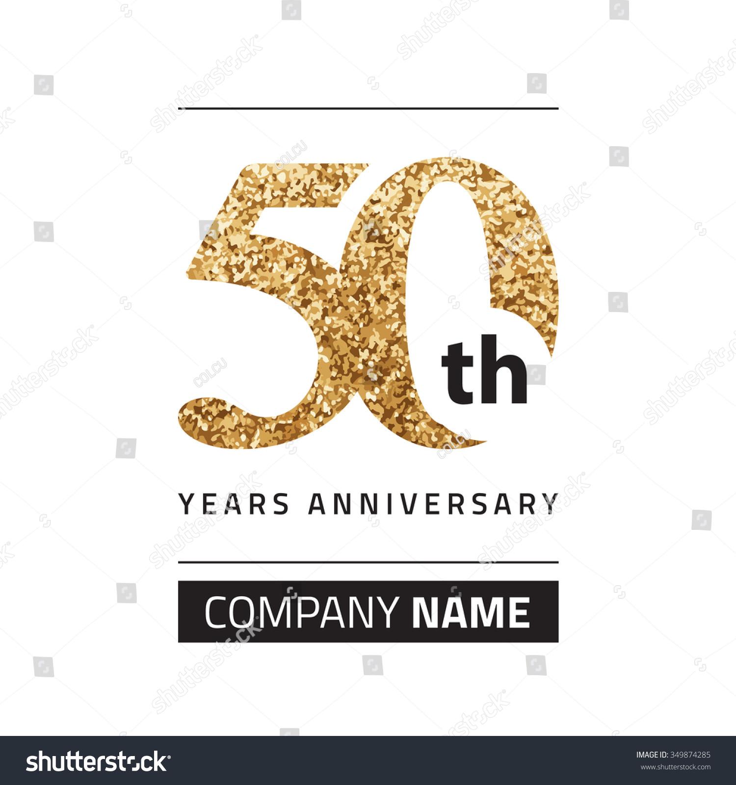 50th Anniversary Gold Stock Vector 349874285