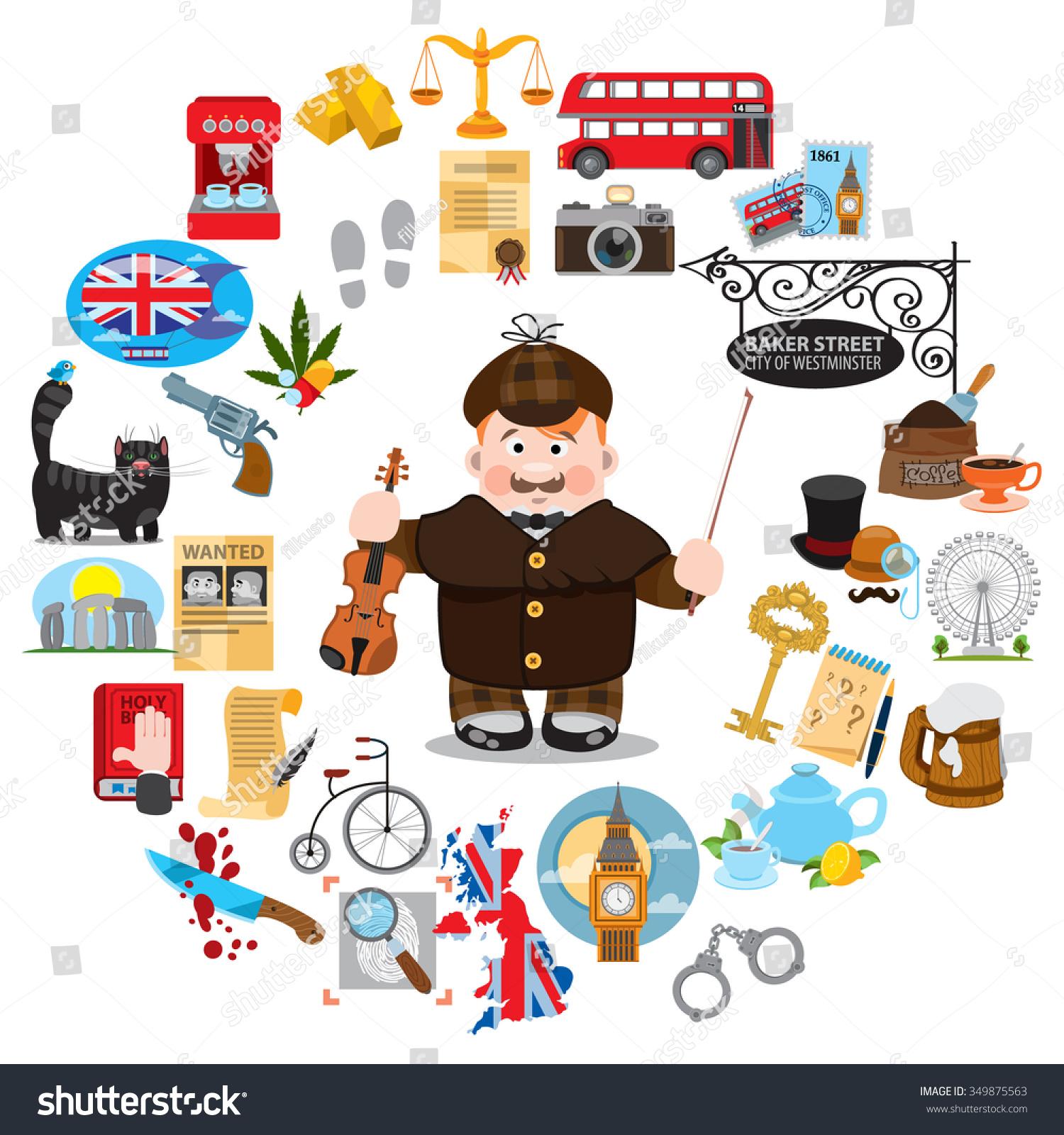 Sherlock Holmes England Icons Detective Stock Vector 349875563 ...