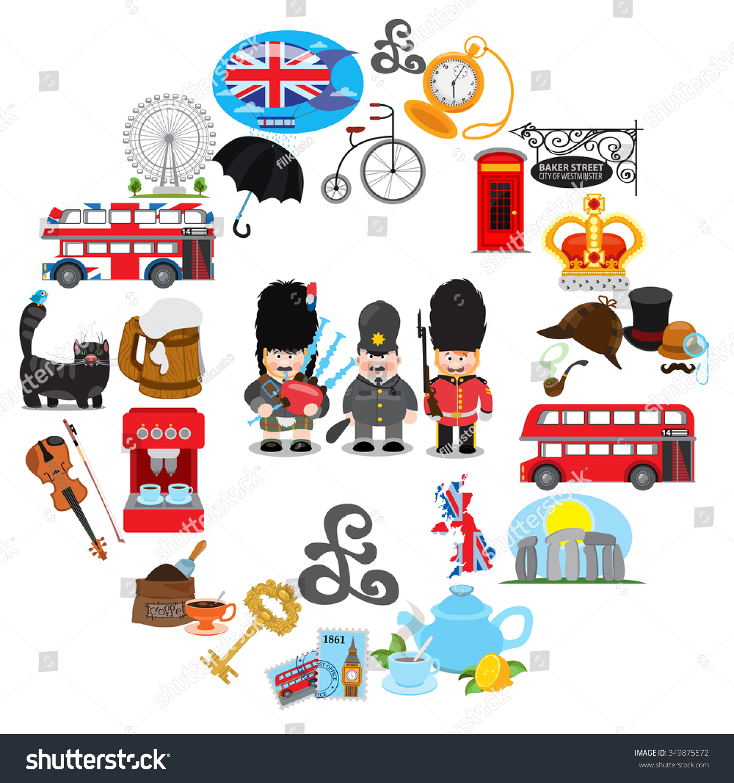 ... english icon set, symbol , england, uk, europe stock vector