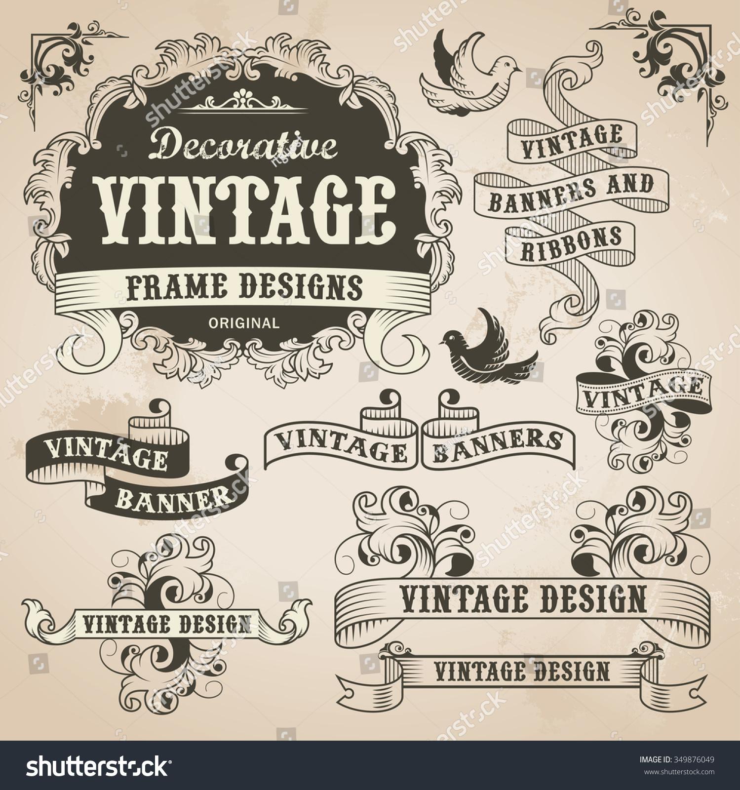 retro vintage banner ribbon set vector stock vector 349876049 rh shutterstock com vintage banner vector illustrator vintage banner vector illustrator